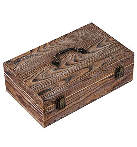 Wooden Case - Essential Oil Storage Box - 30 Slots for 5ml, 10ml and 15ml Bottles- Wooden Organizer with Carry Handle - Includes FREE ACCESSORIES Habom (dark brown)