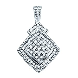 Diamond Pendant Sterling Silver Square-shape Unique 1/5 Cttw(I2/i3, i/j)