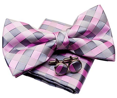 Check Square Cufflinks - Retreez Classic Check Woven Microfiber Pre-tied Bow Tie (Width: 5