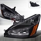 honda accord ex parts - Spec-D Tuning 2LH-ACD03JM-RS Honda Accord Lx Ex Jdm Black Head Lights Lamps Pair