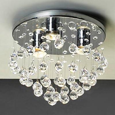 LightInTheBox Modern 3 - Light Flush Mount Lights with Crystal Beads Close to Ceiling Light Fixture Rain Drop Chandeliers Lighting