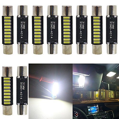 JAVR - Pack of 10-31MM(1.25) Xenon White Extremely Bright 4014 9SMD LED Festoon Bulbs for Honda 12V 28-31mm Halogen Sun Visor Vanity Mirror Light Bulb Stock #: 6615F 6612F 3021 3022 3175 T-2 SF6/6