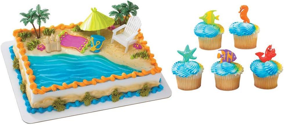 Beach Chair Umbrella Topper & 12 Pack Sealife Cake Cupcake Picks