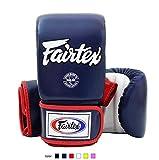 Fairtex Muay Thai Bag Boxing Gloves TGO3 Navy blue/white/red Size L Training gloves for Kickboxing MMA K1