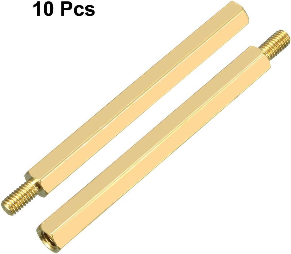 uxcell 10pcs M3 45+6mm Female Male Thread Brass Hex Standoff Spacer Screws PCB Pillar