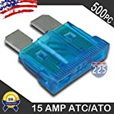 500 Pack 15 AMP ATC/ATO Standard Regular Fuse Blade 15A Car Truck Boat Marine RV