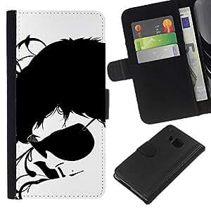 KLONGSHOP // Tirón de la caja Cartera de cuero con ranuras para tarjetas - Gafas de sol Negro Arte Cara Blanca Retrato Hombre - HTC One M7 //