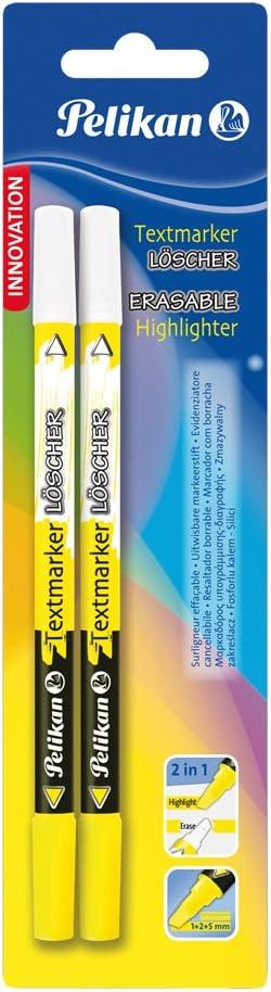 Pelikan 456 - Pack de 2 marcadores resaltadores borrables, color amarillo: Amazon.es: Oficina y papelería