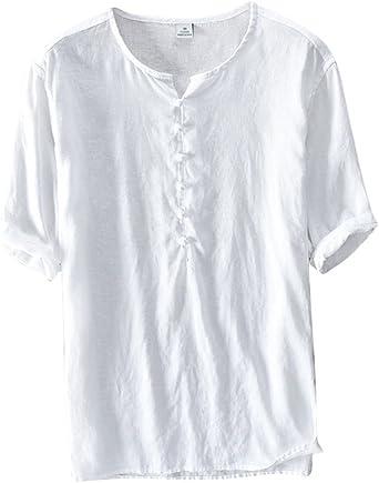 Camiseta Hombre Lino Cuello En V Manga Corta Camisa Básica Casual Blusa Top: Amazon.es: Ropa y accesorios