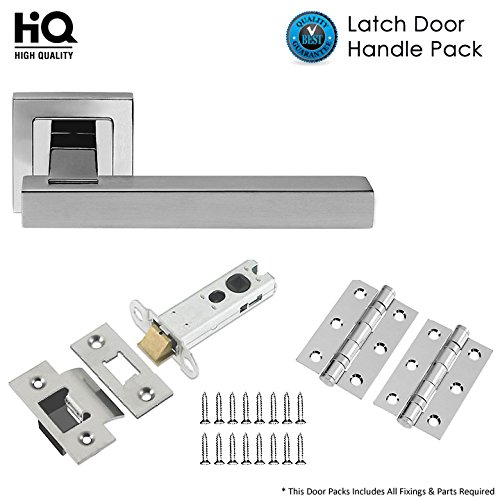 Satin//Polished Stainless Steel Door Handles Lever on Square Rose Solid Tubular Latch Pack with Hinges