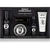 Kit Entretien de Barbe Complet de Percy Nobleman. Coffret-cadeau pour homme contenant une huile pour barbe, un shampooing pour barbe, une baume à barbe, une lotion hydratante pour visage et un peigne