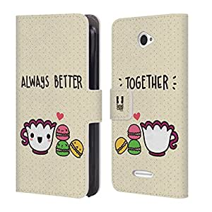 Head Case Designs Better Together Kawaii Macarons Leather Book Wallet Case Cover For Sony Xperia E4
