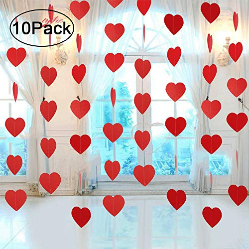 Ontop 10 Pack Valentine's Day Heart Hanging Decorations Garland Banner - Wedding Party Backdrop Decor Supplies ()