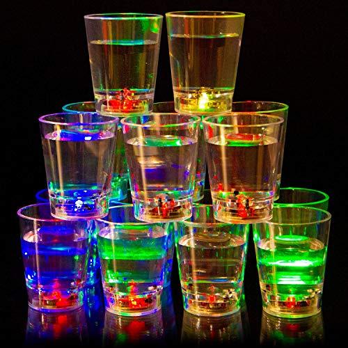 Liquid Activated Multicolor LED Shot Glasses ~ Fun Light Up Shots - 2 oz. - Set of 16
