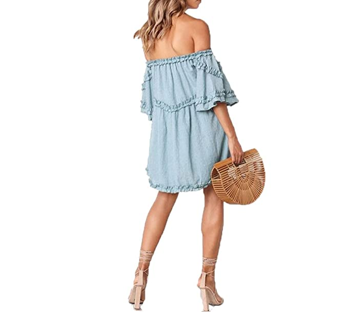 5d072497c795 Sexy Women Off Shoulder Mini Dress Summer Beach Strapless Ruffles Striped  Cocktail Evening Party Sundress (
