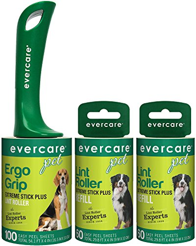 Evercare Pet Hair Extra Sticky Lint Roller with 2 Refills, New ERGO GRIP, 220 Total (Pet Refill)