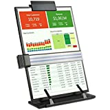 Desktop Document Copyholder - Easel Document Holder Clipboard with Adjustable Clip and Line Guide with 7 Positions Easy Viewing to Holds A4 Documents Letter Legal Pads and Book 8 x 14 x 1 inch - Black