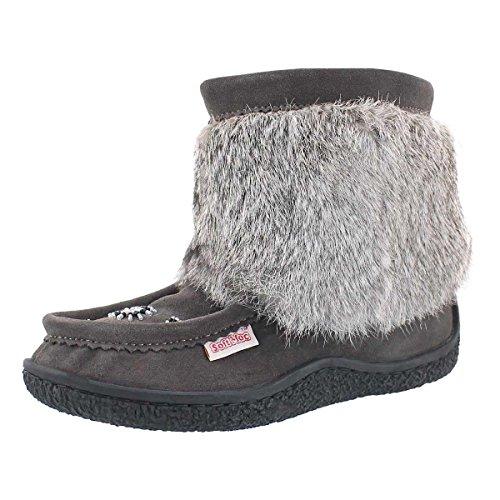 Rabbit Fur Mukluk (SoftMoc Women's 8532 Rabbit Fur Mini Mukluk Grey 9 M US)