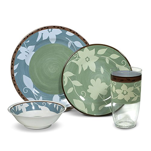 Pfaltzgraff Patio Garden 16 Piece Melamine Dinnerware Set, Service for 4