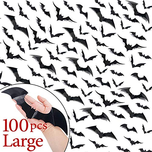 Ivenf Halloween Bat Wall Decals Stickers Decor, 100 Pack Extra Large 3D Bats Window Decals, Bat Halloween Decorations Door