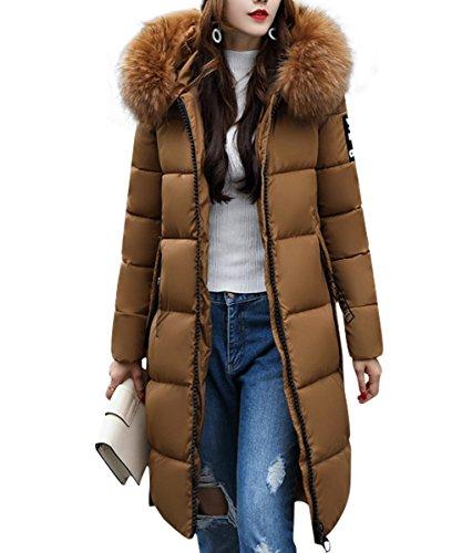 YOSICIL Hiver Femme Manteau lgant Uni Zip Long Veste  Capuche Fourrure Fausse Chaud Doudoune Coat Blouson Parka Veston Hoodie Brun
