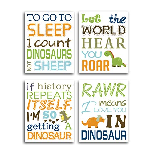 HPNIUB Watercolor Inspirational Lettering Quote Art Prints Set of 4 (8X10 Wildlife Animal Dinosaur Typography Canvas Poster for Kids Baby Bedroom Or Classroom Decor, No Frame