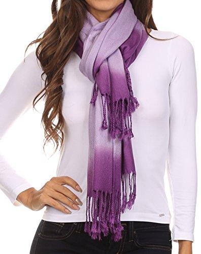 Sakkas CHS156 - Vicki Trendy Ombre Stripe Tie Dye Pashmina/ Shawl/ Wrap/ Stole - Purple - OS
