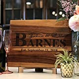 Anniversary Gift or Wedding Gift - Add Your Last Name and Anniversary Date! Great Gift for the bride - Wooden Personalized Cutting Board - USA Handmade Cutting Board Laser Etched.