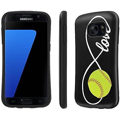 Galaxy [S7] Tough Designer Case [SlickCandy] [Black Bumper] Ultra Shock Absorbent - [Love Softball] for Samsung Galaxy S7 / GS7 Sales