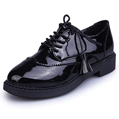 Las Mujeres De La Franja De La Vendimia Oxfords Brogue Zapatos Primavera OtoñO Borla Pisos De Charol Lace Up Basic Ladies Flats Plataforma Calzado: ...