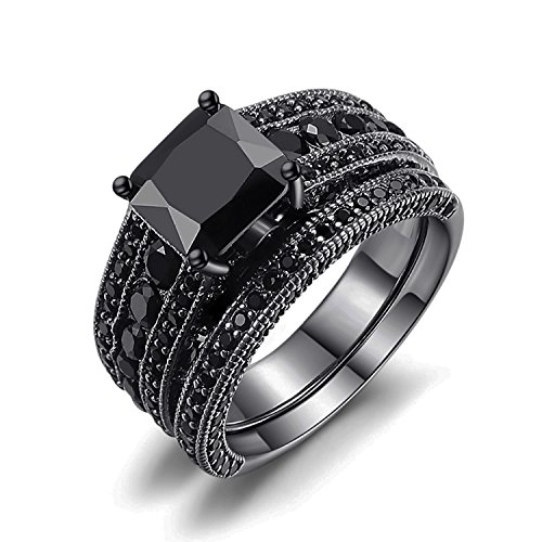 Castillna Black Sterling Silver Princess Cut Created Black Sapphire Wedding Engagement Bridal Rings Set by Castillna