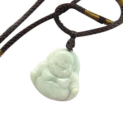Ovalbuy Jadeite Grade a Jade Tibet Buddhist Buddha Pendant Necklace h6YYj7