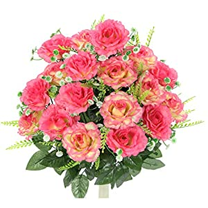 Admired By Nature ABN1B002-PNK Artificial Rose Flower Bush, 7. Pink