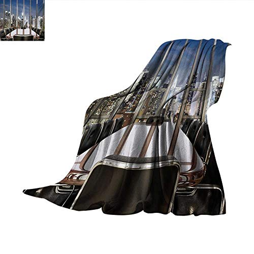 - Modern Weave Pattern Blanket Business Office Conference Room Table Chairs City View at Dusk Realistic Photo Summer Quilt Comforter 80
