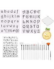 YiYLunneo 19 pcs Alphabet Cake Stamp Tool, Fondant Cake Cookie Biscuit Stamp Mold Set Letter Number Clear Stamps Cutter, DIY Alphabet Moulds Uppercase Lowercase Letter Mold, Birthday Cake Decoration Easy to Clean