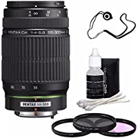 Pentax SMCP-DA 55-300mm f/4-5.8 ED Autofocus Lens + 3 Piece Filter Kit + Deluxe 3pc Lens Cleaning Kit + Lens Cap Keeper 6AVE Bundle