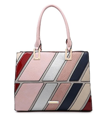 Ladies Stylish Striped Panel Handbag - Women's Summer Tote Shoulder Bag, Satchel Bag MA36007 Pink