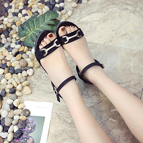 Ladies Office Shoes Wedge Sandals Buckle Low Heels Peep-toe Flat Sandals (US:7.5, Black)