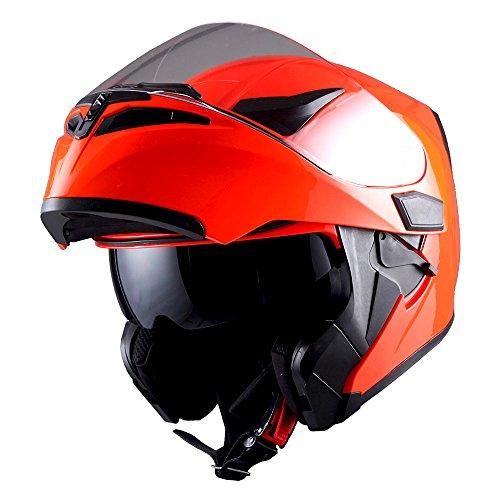 Glossy Shield (1Storm Motorcycle Modular Full Face Helmet Flip up Dual Visor Sun Shield: HB89 Glossy Orange)