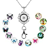 SUNWIDE Lanyard Office ID Badge Holder Locket Necklace With 12pcs Snap Button Charm (Butterfly)
