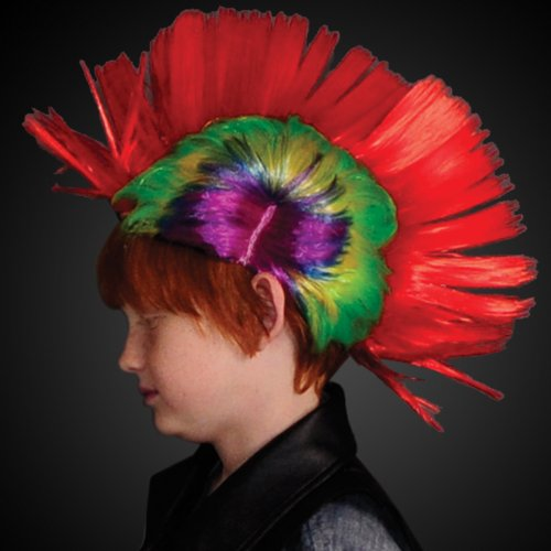 Punk Rock Mohawk Wig with Blinking Red LEDs…
