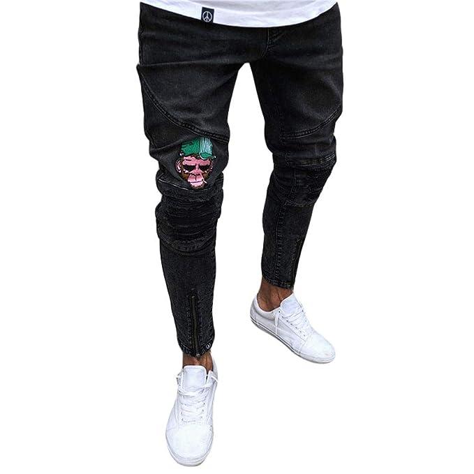 WanYangg Pantalones Jeans Vaqueros Hombres Rotos Slim Fit ...