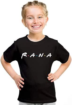 kharbashat Rana T-Shirt for Girls, Size 34 EU, Black
