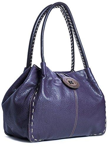 gros Violet Deep bandoulière Sac Shop Trendy simili cuir Purple Handbag à bouton Big Sac fxPHYY
