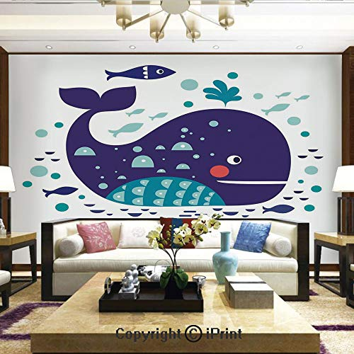 (Lionpapa_mural Removable Wall Mural Ideal to Decorate Your Dining Room,Navy Sea Theme Cartoon Big Fish with Others in Ocean Swimming Image,Home Decor - 100x144 inches)