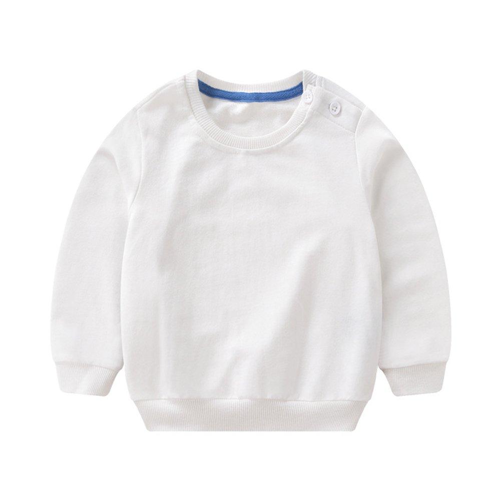 PZJ Bambini Felpa, Maglione a Manica Lunga Pullover Girocollo T-Shirts Per Bambino, Tinta unita Ragazze/Ragazzini Outwear, blu/bianco/rosa