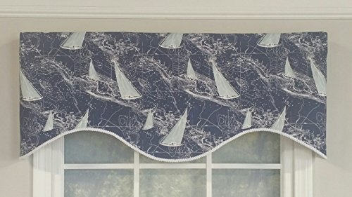RLF HOME Navy Chart A Course Cornice Window Dressings Valance