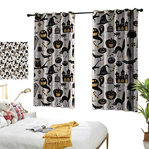 Warm Family Eclipse Curtains Vintage Halloween,Halloween Cartoon Jack o Lantern Tombstone Skulls and Bones,Light Grey Multicolor 84