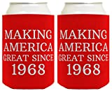 Republican Gifts for 50th Birthday Making America Great Since 1968 50th Birthday Gag Gifts for Republican Party 2 Pack Can Coolie Drink Coolers Coolies Red