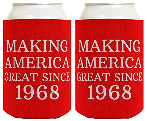 Great Gag Gift (Republican Gifts for 50th Birthday Making America Great Since 1968 50th Birthday Gag Gifts for Republican Party 2 Pack Can Coolie Drink Coolers Coolies Red)